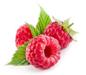 Raspberries isolated on white