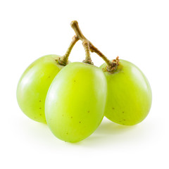 Fototapete - Green grape. Three berries isolated on white background