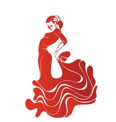 Young passionate woman dancing flamenco