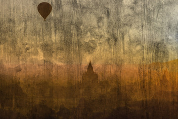 """balloon at Bagan"" Mural. The cement painting  concept"