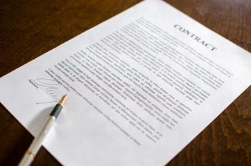 Pen on a signed contract