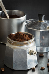 The Funnel of Italian Coffee Maker Filled with Ground Coffee