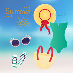 Fashion set of summer clothes