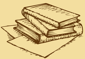 Vector monochrome sketch. Stack of books