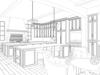 3d sketch of kitchen interior with dining area