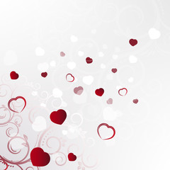 Valentine´s day, background with red hearts and floral pattern