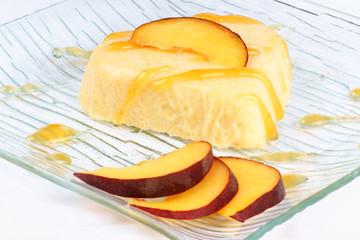 Heart shaped peach bavarian cream (bavarese)