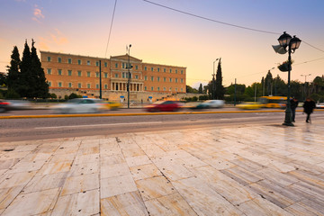 Building of Greek parliament in Syntagma square, Athens.