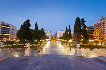 Morning view of Syntagma square in Athens, Greece.