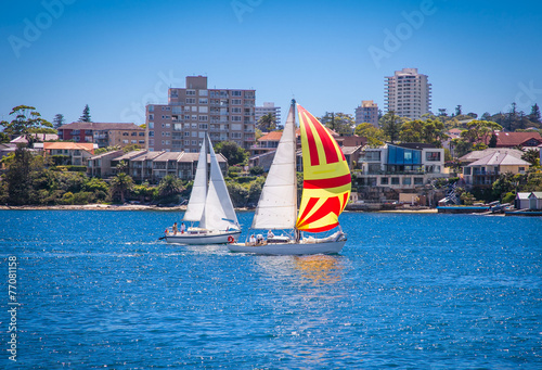 Yachts at Forty Baskets beach near Manly, Sydney. Australia.