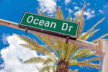 Street sign of famous street Ocean Drive in Miami  Beach