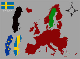 Sweden - Three contours, Map of Europe and flag vector