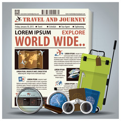 Travel And Journey Newspaper Lay Out With Magnifying Glass, Bino