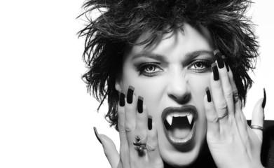 Female vampire screaming. Monochrome Beauty Fashion Portrait