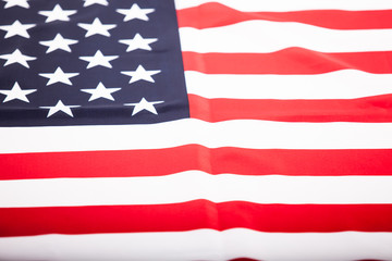 Cloth US flag. Lying flag of the great state.