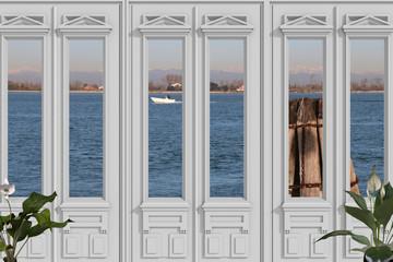 Vista 3D di finestra con sfondo della laguna di Venezia