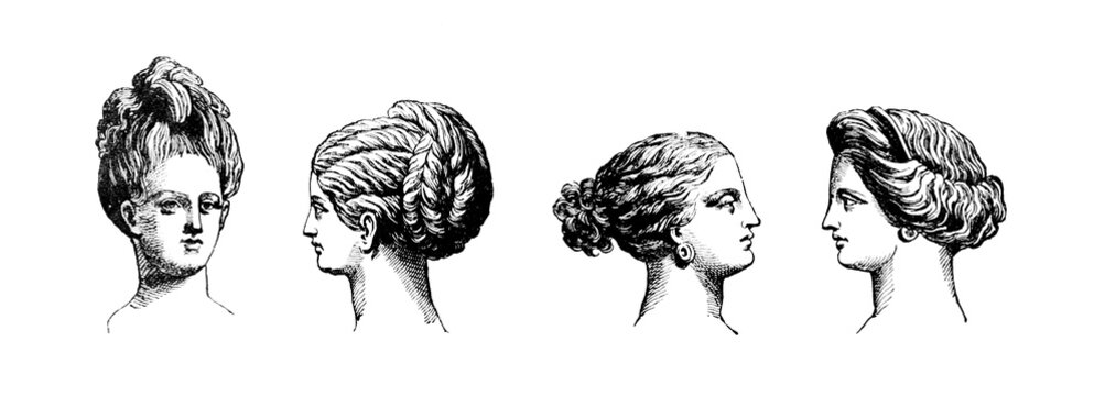Victorian engraving of hair style of Classical Greek women