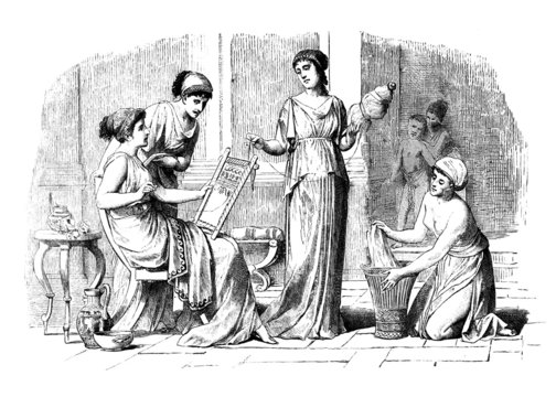 Victorian engraving of Classical Greek women at home