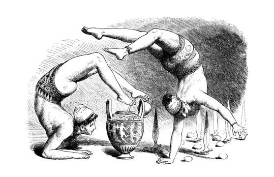 Victorian engraving of ancient greek acrobats