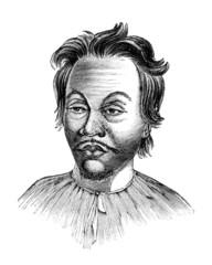Victorian engraving of a  Malaysian man