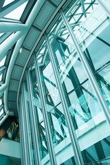 Interior of Glass in Business Office  building Financial Skyscra