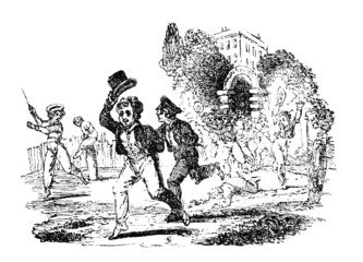 19th century engraving of Victorian boys running from school at