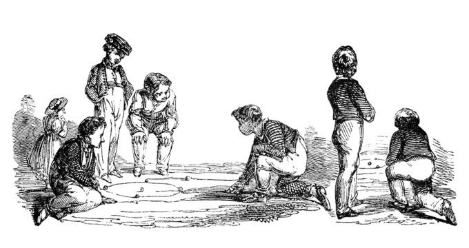 19th century engraving of boys playing marbles