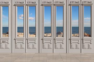 Vista 3D di finestra con sfondo del mare