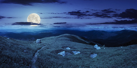 path among stones on mountain top at night