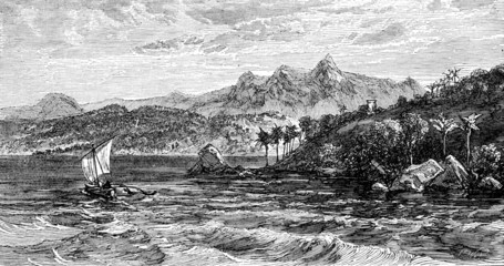 Victorian engraving of Adam's Peak, Sri Lanka