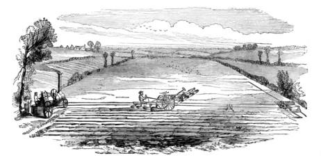 Victorian engraving of a  farmer using a steam plough Wall mural