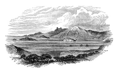 Victorian engraving of the Strait of Magellan, Chile