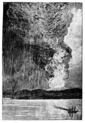 Victorian engraving of a volcanic eruption on Java