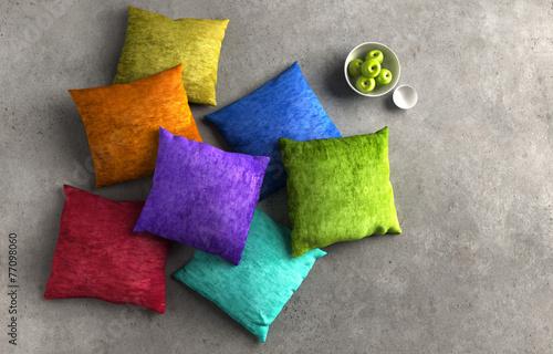 farbige kissen auf steinboden stockfotos und lizenzfreie bilder auf bild 77098060. Black Bedroom Furniture Sets. Home Design Ideas