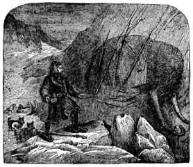 Victorian engraving of a discovery of a frozen mammoth
