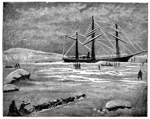 Victorian engraving of an Arctic steamship
