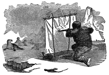 Victorian engraving of a seal hunter