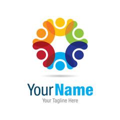 Happy colorful circle social graphic design logo icon