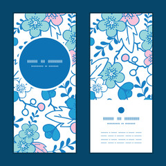 Vector blue and pink kimono blossoms vertical round frame