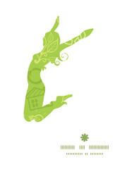 Vector environmental jumping girl silhouette pattern frame