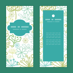 Vector mysterious green garden vertical frame pattern invitation