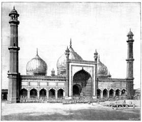 Victorian engraving of the Jasma Masjid, Delhi, India