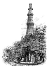 Wall Mural - Victorian engraving of the Qutb Minar, Delhi, India