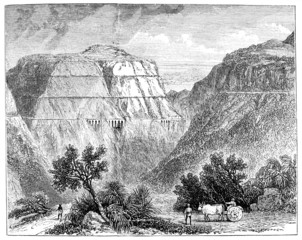 Victorian engraving of a view of the railway through Bhor Ghat