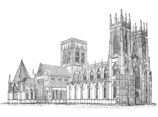 Wall Mural - 19th century engraving of Yorkminster Cathedral, York