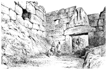 Victorian engraving of the Lion's Gate, Mycenae