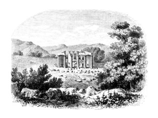Victorian engraving of a ruined ancient Greek temple