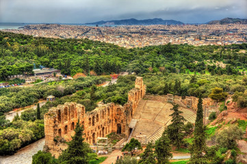 Odeon of Herodes Atticus, an ancient theatre in Athens, Greece