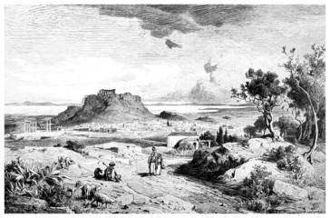 Victorian engraving of a  view of Athens, Greece