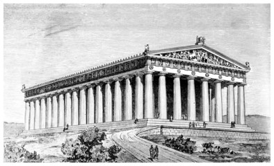 Victorian engraving of an ancient view of the Parthenon, Athens